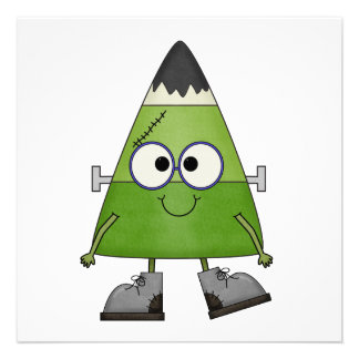 Candy Corn Frankenstein Halloween Custom Announcements