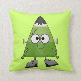 Candy Corn Frankenstein Halloween Throw Cushion