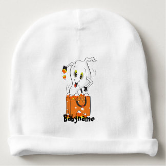 Candy Corn Ghost Personalized Baby Beanie
