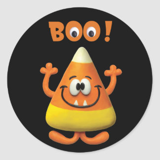 Candy Corn Halloween Boo Party Classic Round Sticker
