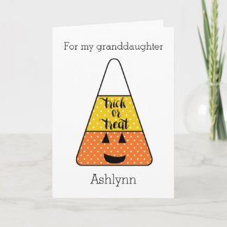 Candy Corn Halloween Granddaughter Card