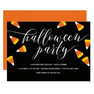Candy Corn Halloween Party Card