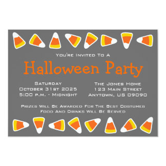 Candy Corn Halloween Party Invitations