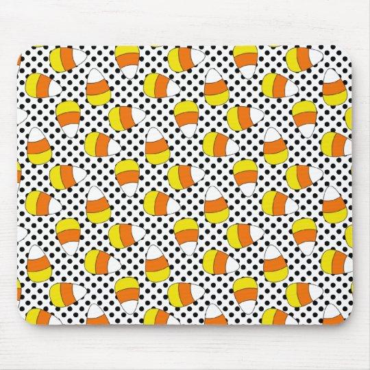 Candy Corn Halloween Polka Dot Mousepad