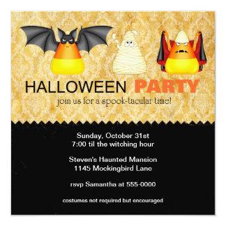 """Candy Corn in Costume Halloween Party Invitation 5.25"""" Square Invitation Card"""