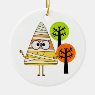 Candy Corn Mummy Halloween Double-Sided Ceramic Round Christmas Ornament
