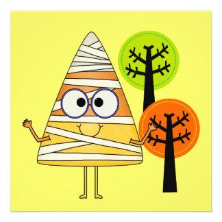 Candy Corn Mummy Halloween Custom Invitation