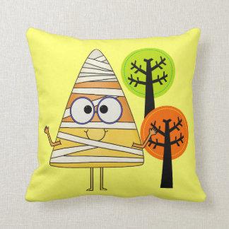 Candy Corn Mummy Halloween Throw Cushion