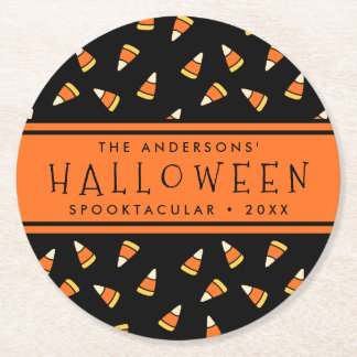 Candy Corn Personalized Halloween Party Round Paper Coaster