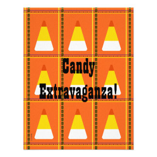Candy Corn Plaid Halloween Personalized Announcements