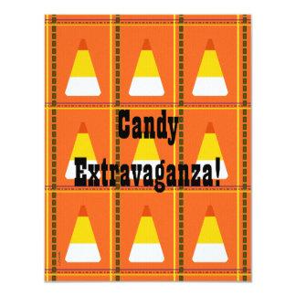 Candy Corn Plaid Halloween 4.25x5.5 Paper Invitation Card