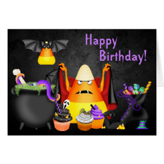 Candy Corn Spooky Treats Halloween Happy Birthday Greeting Card