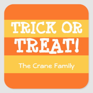 Candy corn stripes orange trick or treat Halloween Square Sticker