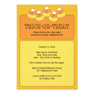 Candy Corn Trick or Treating Halloween Party 13 Cm X 18 Cm Invitation Card