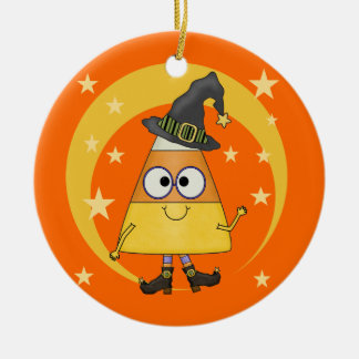 Candy Corn Witch Halloween Double-Sided Ceramic Round Christmas Ornament