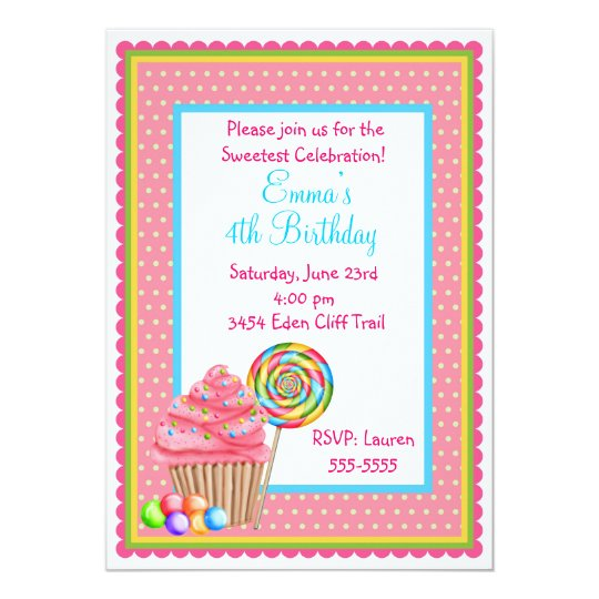 Candy Cupcake Invitation