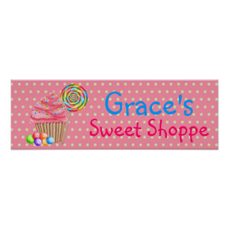 Candy Cupcakes Sweet Shoppe Banner Poster