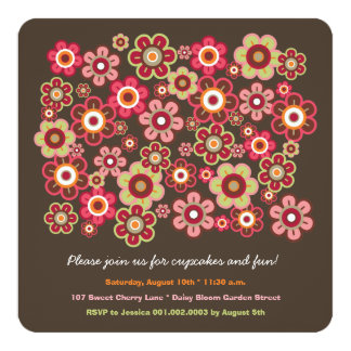 Candy Daisies Bloom Kids Birthday Photo Invitation Custom Invite