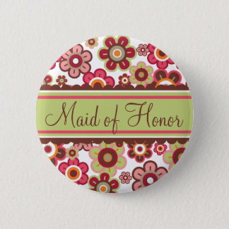 Candy Daisies Flowers Maid Of Honor Wedding Button