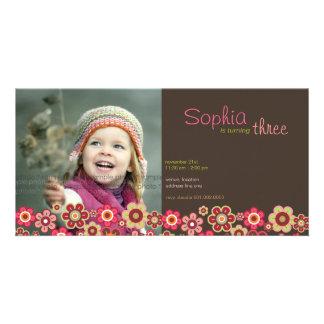 Candy Daisies Pattern Birthday Invite Photo Card