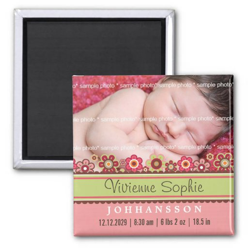 Candy Daisies Photo Birth Announcement Magnet