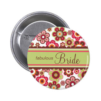 Candy Daisies Spring Flowers Bride Wedding Button