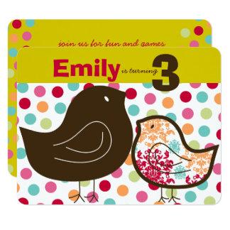 Candy Damask Chicks Girl Birthday Party Invitation