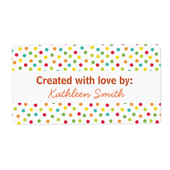 Candy Dots Recipe/Goodies Label Shipping Label