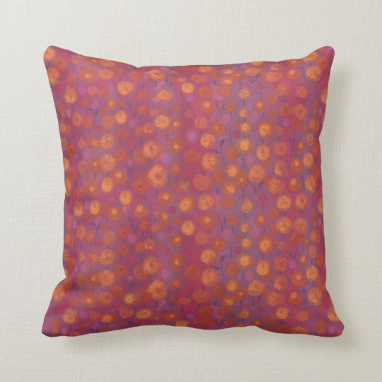 Candy Field, abstract floral pattern, pink orange Cushion