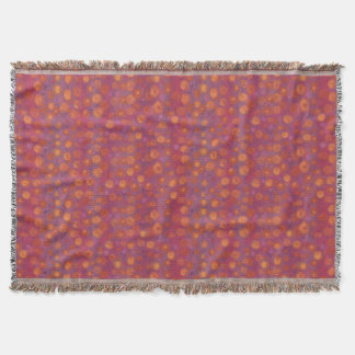 Candy Field, abstract floral pattern, pink orange Throw Blanket