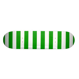 Candy Green Apple and White Striped Skateboard