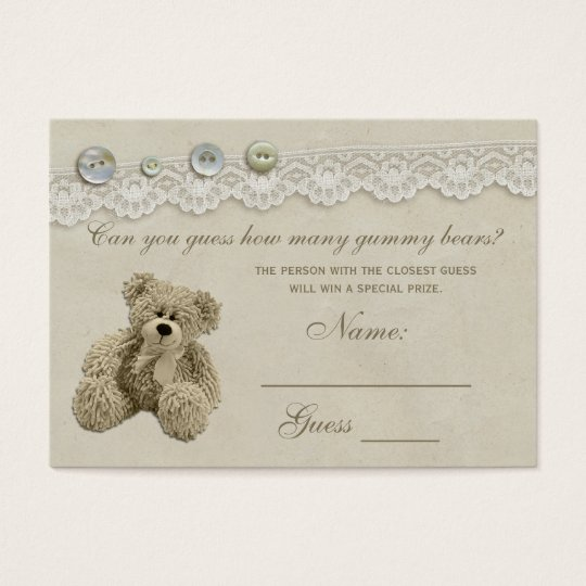 Candy Guessing Game Teddy Bear Baby Shower Business