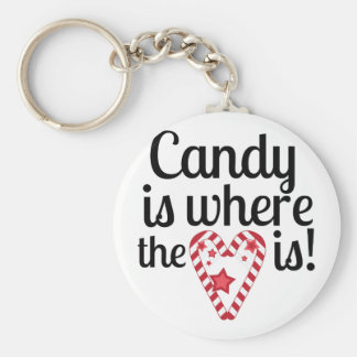 Candy Heart Basic Round Button Key Ring