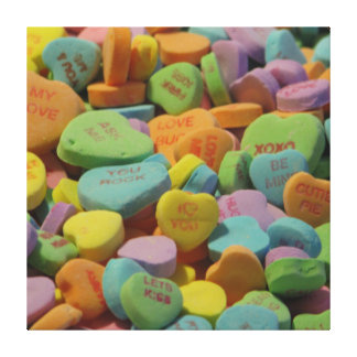 Candy Heart Be Mine I love you Texture Template Canvas Prints