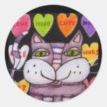 Candy Heart Purple Cat Folk Art Round Sticker