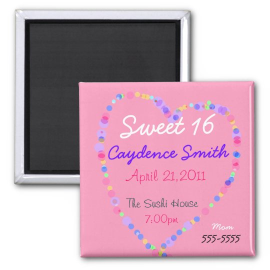 Candy Heart Sweet 16 Birthday Square Magnet