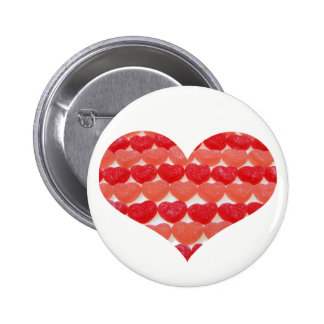 Candy Hearts In A Row, Heart Shaped 6 Cm Round Badge