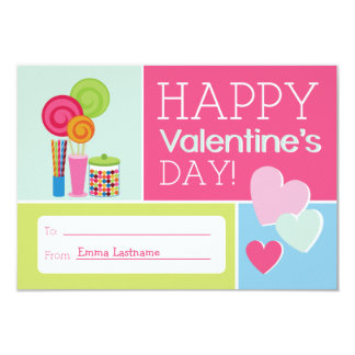 Candy & Hearts Kids School / Classroom Valentine 9 Cm X 13 Cm Invitation Card