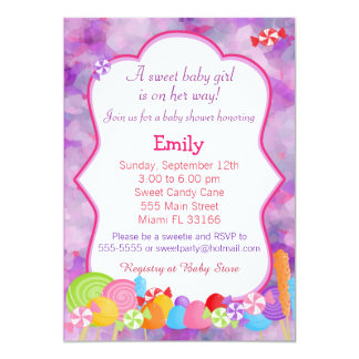 Candy Invitation Baby Girl Shower Pink Purple