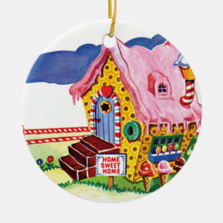 Candy Land Ginger Bread House Round Ceramic Decoration