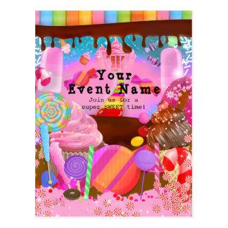 Candy Land Party Fantasy Birthday Flyer Invitation Postcard
