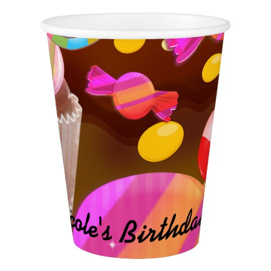 Candy Land Party Fantasy Birthday Personalised Paper Cup