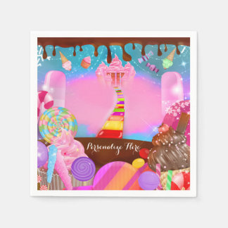 Candy Land Party Fantasy Birthday Personalized Paper Serviettes