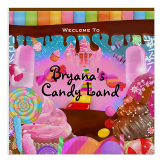 Candy Land Party Fantasy Birthday Personalized Poster