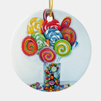 Candy land round ceramic decoration
