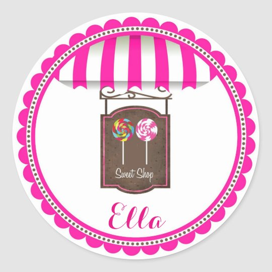 Candy Land Sweet Shop Birthday Favour Stickers