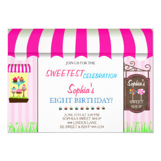 Candy Land Sweet Shop Birthday Party Invitations