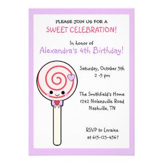 Candy Lollipop Birthday Announcements