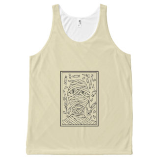 Candy Mummy Black Line Art Design All-Over Print Tank Top