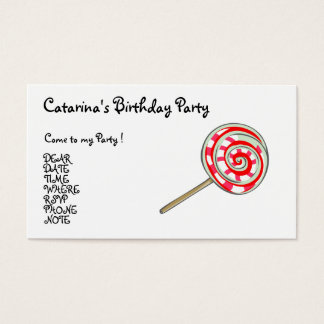 Candy  Party- Customized Business Card